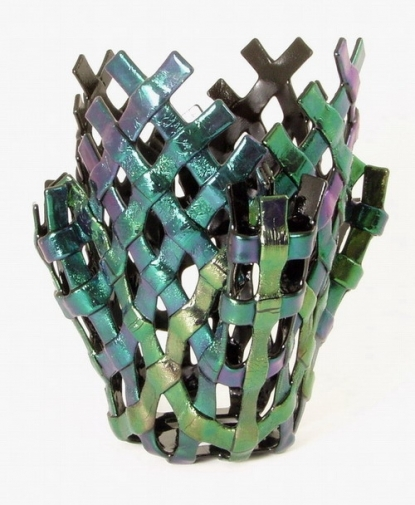 Handmade Rainbow Weave Glass Vase by Masters Glass Art.