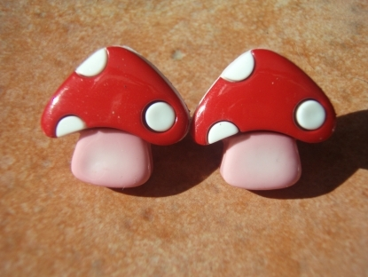 Retro Collection- Red Pink and White Mushroom Studs Earrings.
