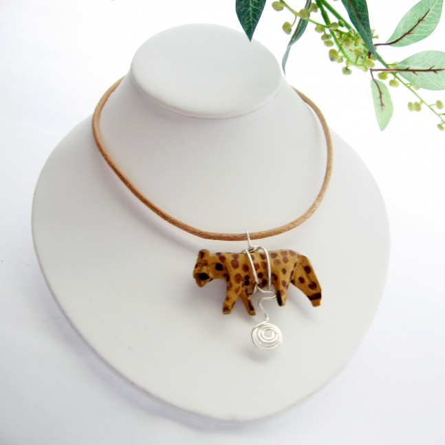 Leather Choker with Vintage Animal Bead from GalleriaLinda