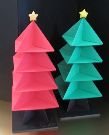 Red and Green Handmade Origami Christmas Trees