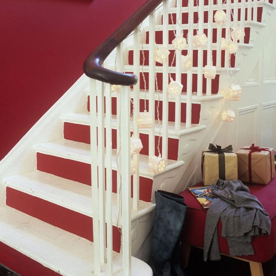 Paint the risers of each step a bright red just for the Christmas period