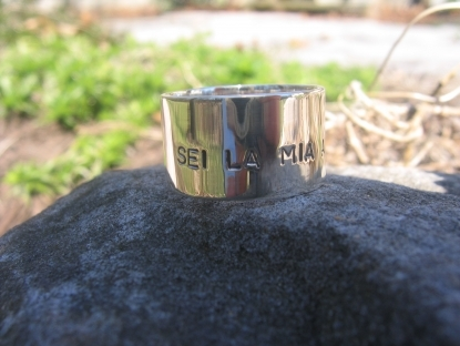 Inscribed Wide Silver Band for Him on Valentines Day.