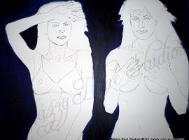 Painting in progress, woman's body, nudes.
