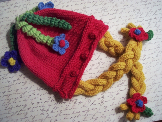 Hand-knitted Miss Piggy Tails Hat.