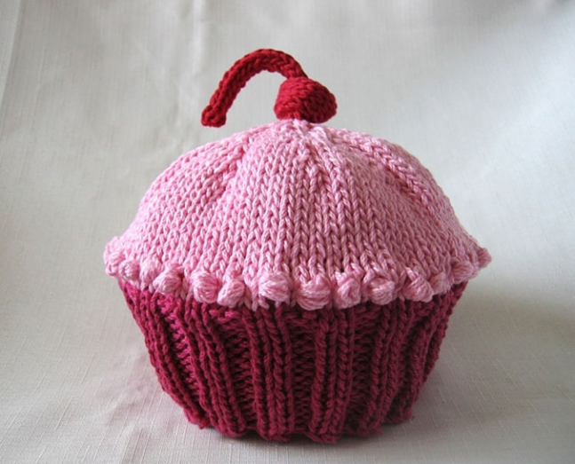 Knitted Cupcake Cotton Hat by Boston Beanies.