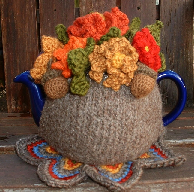 2 Cup Handknitted and Felted Tea Cosy.