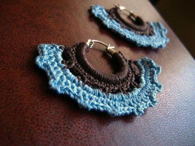 Sterling Silver Crochet Hoops.