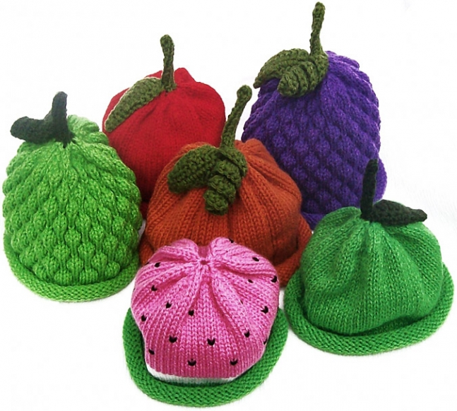 Knitted Fruit Hats by L A Originals.