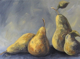 The Pear Family, Painting, oil paint, varnish, canvas panel.