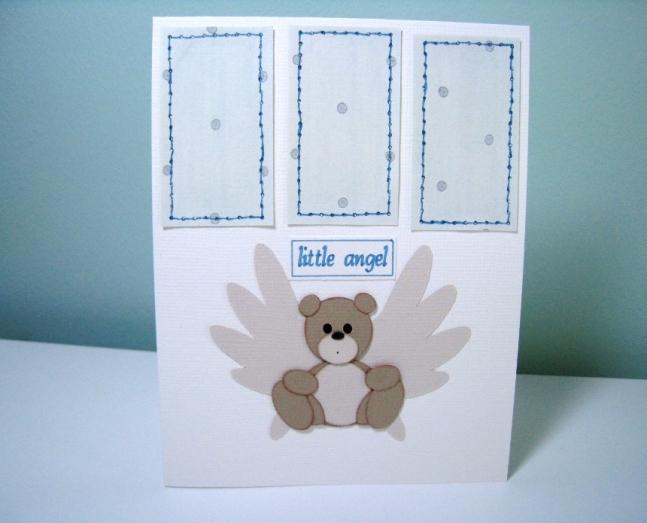 Teddy Bear Handmade Angel Baby Card.