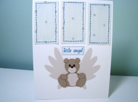 Teddy Bear Handmade Angel Baby Card.