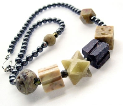 Handmade Edgy Swarovski Crystal Pearls & Carved Soapstone Necklace.