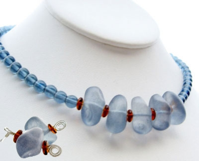 Translucent Frosted Blue Glass Bead & Sterling Necklace