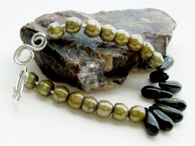 Handmade Black Olive Branch Czech Glass Contemporary Bracelet.