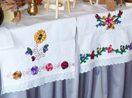 Hand stitched table cloth.
