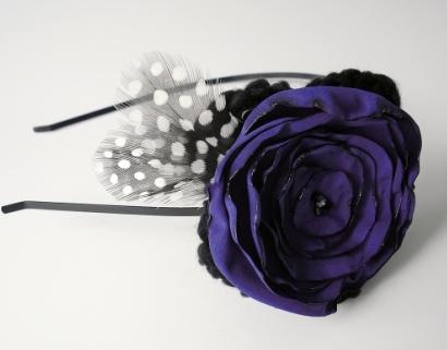 Crochet flower headband with Swarovski crystals