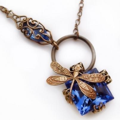 Dragonfly necklace cobalt blue Art Deco asymmetrical original
