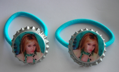 Hannah Montana bottle cap ponytail holders~set of two