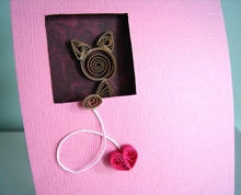Paper Quilled Cat Love You Card - Pink Heartstrings