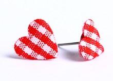 Red garnet plaid heart fabric applique hypoallergenic stud