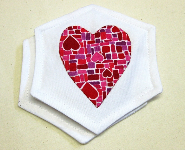 Appliqued Heart Coasters
