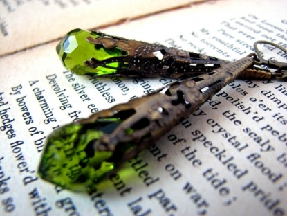 Peridot Green Crystal Earrings