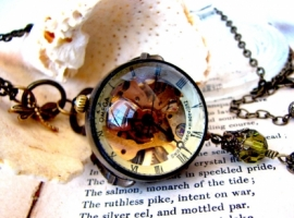 Vintage Clock Pendant Necklace