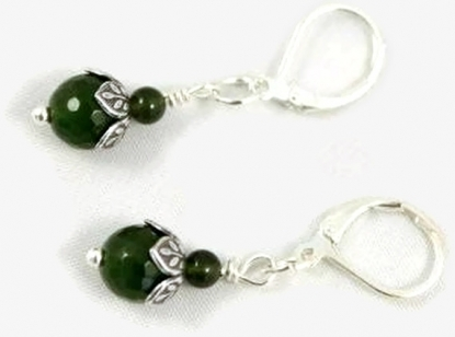 Forest green jade earrings.