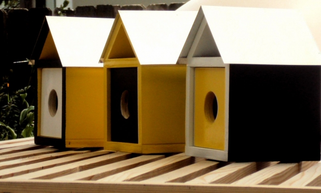 Mid Century Modern Trio of Goldfinch Birdhouses.