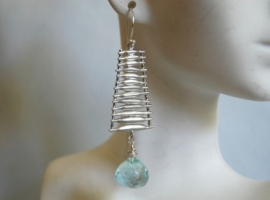 Aquamarine quartz onion briolette earrings