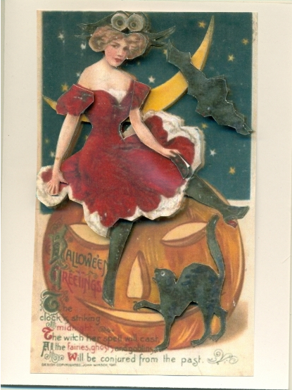 3D Card Halloween Lady Red Dress, Handmade.