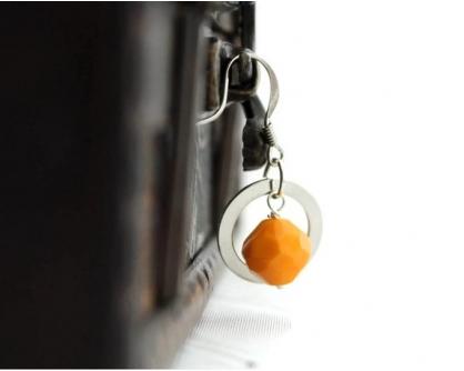 Tangerine Sunny yellow citrus mango earrings Vasantika, by AhKriti.