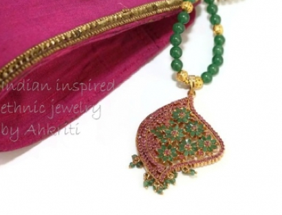 Emerald ruby ethnic necklace Aloka, by AhKriti.
