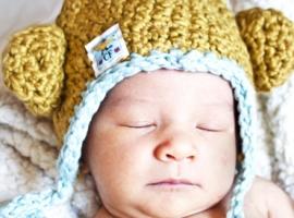 Newborn knit monkey hat