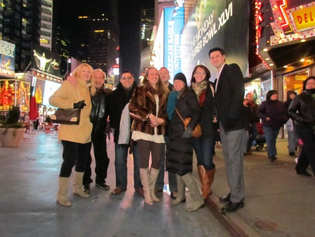 family photo in Times Square