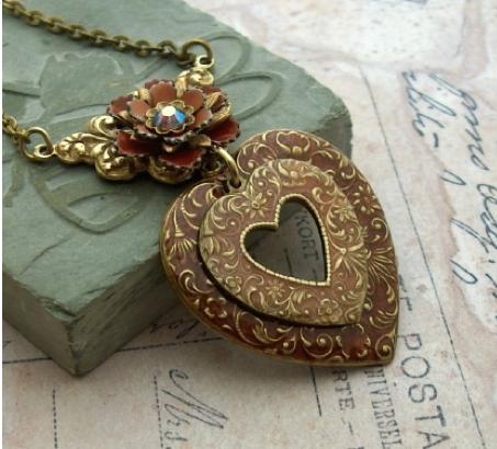 necklace brass red resin crystal vintage enamel crystal