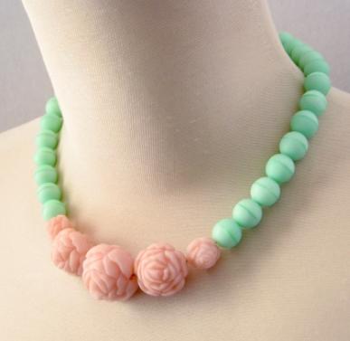 Handmade Romantic Necklace Mint Czech Glass w Vintage Rose Beads