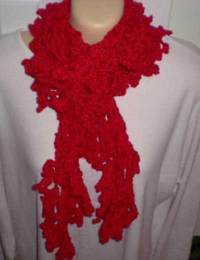 scarf red ruffly