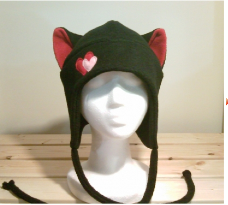Cat hat with 2 hearts