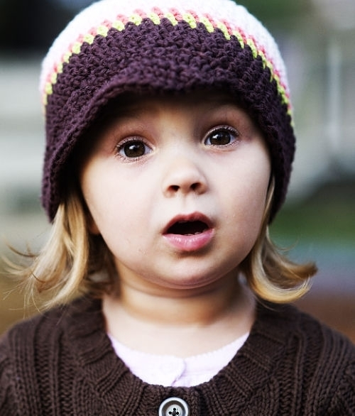 Surprised girl in a cute hat.