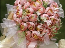 My latest creation Glorious Pink Roses Raw Silk Bridal Bouquet