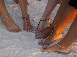Crystal Dazzle Beach/Destination Wedding Barefoot Sandals (pair)