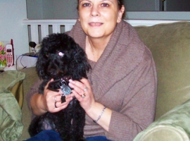 Debra Westdorp from Designs by Debra with her dog Weeboy.