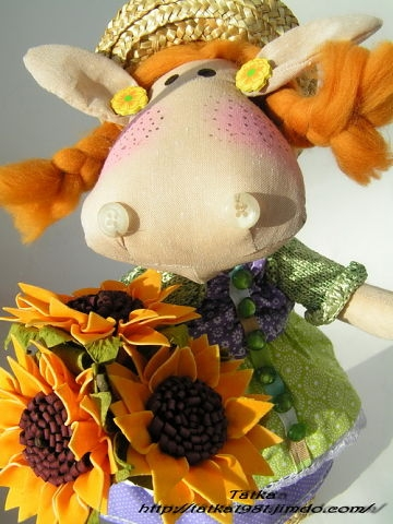 Handmade cow doll with sunflowers, Tatka Besserdechnih