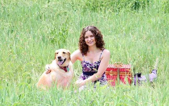 Marta Raptis from DelightfulSuds with her dog.