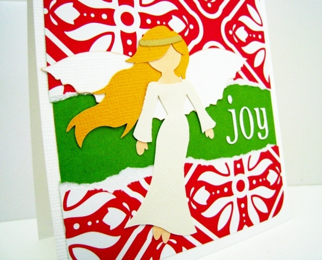 Christmas Angel card with a blond angel on red handmade card.