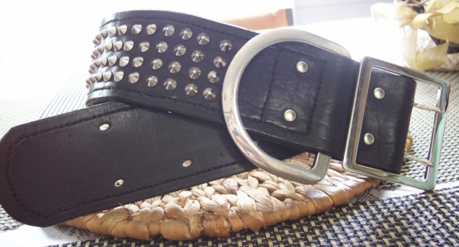 Extra Large Studded Leather Dog Collar, Lined and Hand Stitched.