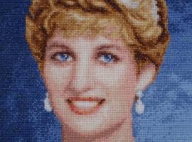 Princess Diana, cross-stitched