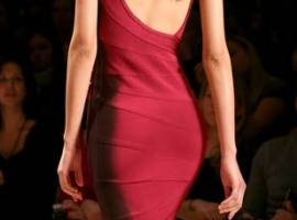 A sleek take on the iconic bandage dress at the Herve Leger by Max Azria show at New York Fashion Week.