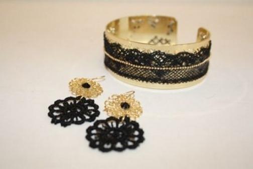 lace bracelet and earrings